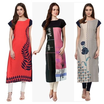 Ethnic Wear Readymade Combo Pack Of 3 Kurti - 50-324-329A-332 @ Rs . 1420 /- Only  Buy Now : https://goo.gl/BYveNg  Available Size : S, M, L, XL   Order On Whatsapp : 09321219977  Flat 10% OFF on First Order ( Use Coupon - IAMNEW10 ) Get Free Home Delivery + COD + Easy EMI + Easy Refund / Replacement Policy.!! *100 % Customer Satisfaction * Stitching Service Available * Hurry Up To Grab Exciting Offer On storeadda !!!! * Worldwide Shipping  #dressmaterial #crepe #salwarkameez #womensonlineshopping #sale #storeadda #fashionblogger #blogstyle #blogs #blogging #punjabisuit #salwarkameez #blog #wedding #Weddingsuits #Palazzosuits #fashionblogs #patialasuits #patiyala-suit #karishmakapoor #roposostyle #pant_suits #kurti #multi-colour #crepe #digitalprinted #readymadekurti  #officewear #ethnic-wear #printed #kurtistyles #kurtiset  #officewear #ethnicwearonline #kurtionlineshopping  #combo #kurti #packof3 #kurti #kurtionlineshopping  #ropostyle #kurtionlineshopping #womenkurtis #women-branded-shopping #youtuber