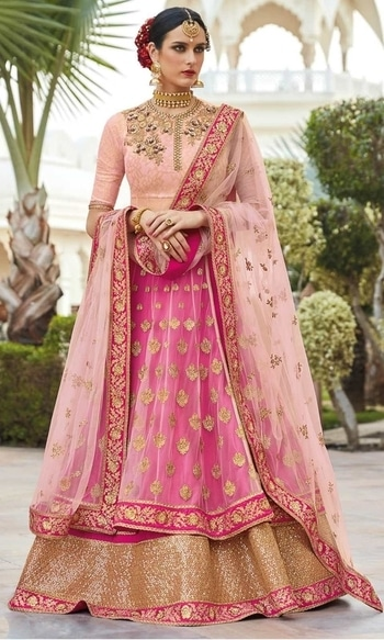 Peach and Pink Party Wear Floor Length Designer Suit  • Party Wear Floor Length Designer Suit • This Dress can also be Styled in Lehenga Choli • Fabric : Net and Silk • Salwar Fabric : Raw Silk • Dupatta Fabric : Net • Size : Semi-Stitched (customizable Upto size-44)  SKU: SUEJDSFL7404  Rs. 6,899