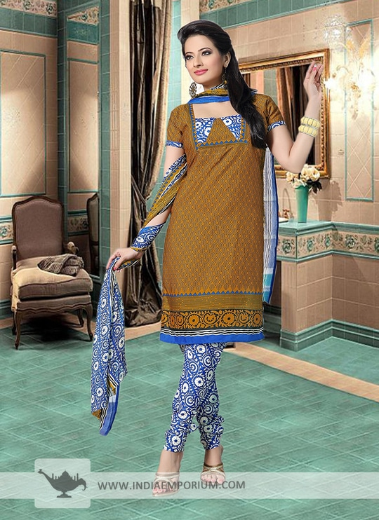 Enviable Yellow Cotton Printed #Churidar #Suit Shop Now>> http://bit.ly/2rXVYKF