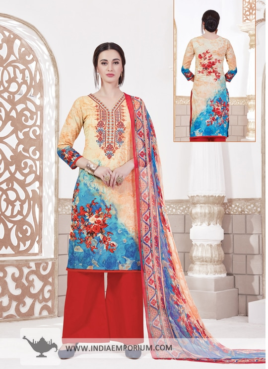 #Fashion Alluring Red & Orange Cotton Printed Palazzo #Suit Explore Now>> http://bit.ly/2rYk08o  #indiaemporium #likeforlike