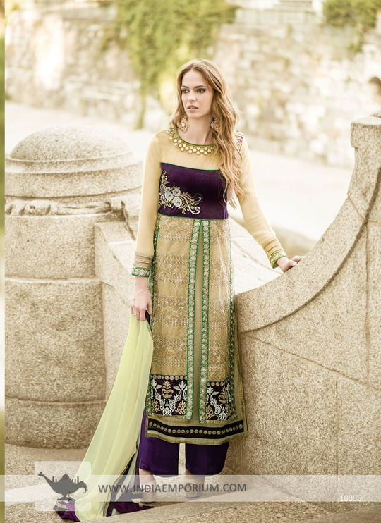 Stunning Beige & Purple #Georgette Designer Palazzo #Suit Shop Now>> http://bit.ly/2sEPIcw