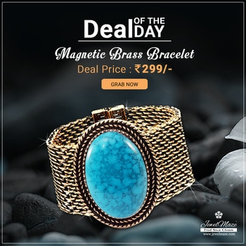 🎊 Deal OF The Day 🎊 Turquoise Texture Stone Antique Gold Plated Magnetic Brass Bracelet @ Rs.299/- Shop Now : http://bit.ly/2t1Kdaw #buyonline #dealoftheday #bracelet #JewelMaze