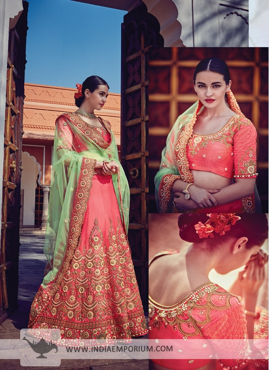 Smashing Rose Pink Art #Silk #Lehenga #Choli with Embroidery Work Click & Shop Now http://bit.ly/2s2870W  #indiaemporium