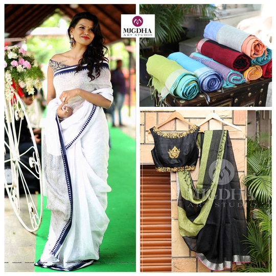 Awesome Lenin Saree Collections with wide range of color combinations are Out in Mugdha Art Studio. Rush Before the Stock ends. To Order with us : WhatsApp: +91 8142029190 / 9010906544  For Call: 8899840840 (IVR) #lenin #lookoftheday #fashionista #ropo-love