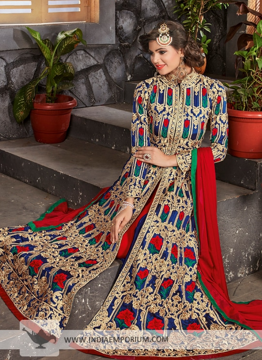 #IndiaEmporium Dazzling Multi Colour & Red #AchkanStyle Suit with #EmbroideryWork  Shop http://bit.ly/2sx7Dnd