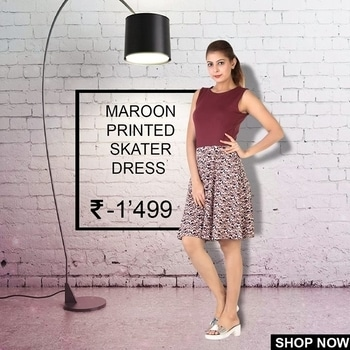 When In Doubt, Wear Maroon..!! 😎😎 Step Out With @lechaperon Maroon Printed Skater Dress And Stand Out With Style Everyday...!! Shop with us and choose your favorite from our huge collection. Hit the link to get this dress http://amzn.to/2pwaQ1x #onepiece #shortdress #lifestyle #fashion #womendress #trendy #stylishlook