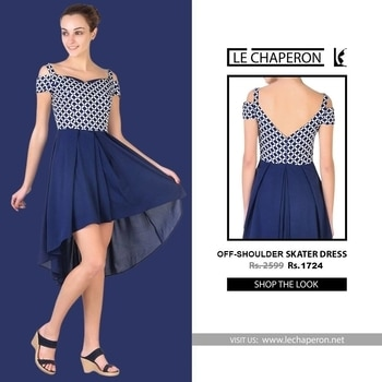 Pack away your old stuff when you wear this Blue coloured Off-shoulder skater dress by Le Chaperon. It is light in weight and will be soft against your skin. This sexy dress can be best teamed with matching sandals and a clutch.👗 #partywear #onepiece #fashion   Get it from here : http://amzn.to/2rUKXhN For paytm : http://bit.ly/2rG3sCt For Flipkart : http://bit.ly/2tx9iYd #lifestyle #stylish #fashion #trends #trendy #onepiecedress #dresses #shortdress