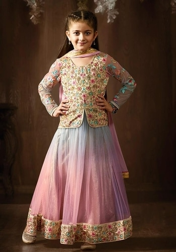 CUTE SHADED PINK JACKET STYLE ANARKALI DRESS FOR GIRLS https://www.gravity-fashion.com/cute-shaded-pink-jacket-style-anarkali-dress-for-girls-c17117.html