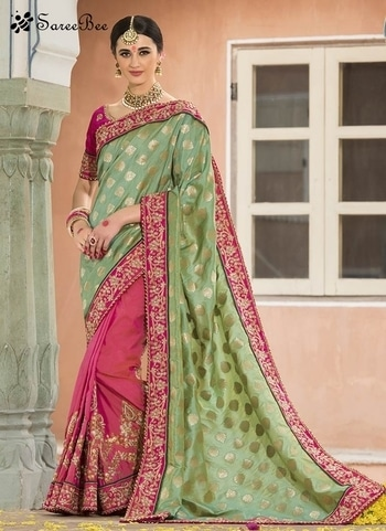 Noble Green Patch Border Work Designer Half N Half  Saree 4186    For More Information WhatsApp 7202080091 Or Visit www.SareeBee.com    #red #designer #instagram #kurti #fashionista #makeup #delhi #outfitoftheday #women-fashion #myfirststory #model #indian #saree #ramadanmubarak #trendy #ethnic #picoftheday #menonroposo #roposolove #cool #firstpost #soroposo #summer-style #streetstyle #summer #newdp #beauty #traveldiaries #styles #youtuber   #lehengas #summer-fashion #summerfashion #bollywood #fun #dress #streetstyle #ethnic #designer #styles #travel #indianblogger #roposo #selfie #trendy #lookoftheday #summer #ropo-love #styling #fashionista #cannesfilmfestival #roposogal #shopping #blogger #cool #Womenonroposo  #summer-fashion #summerfashion #raabtathemovie #rocknshop #food #bollywood #fun #dress #ootd #streetstyle #ethnic #designer #styles #travel #indianblogger #roposo #selfie #trendy #lookoftheday #summer #ropo-love #casualvibes #styling #fashionista #cannesfilmfestival #roposogal #shopping #blogger #cool #menonroposo #ethnicwear #ramdan #Eidmubarakh #Eid2017