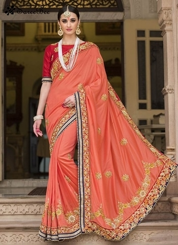 Outstanding Peach Patch Border Work Silk Designer Saree 4195   For More Information WhatsApp 7202080091 Or Visit www.sareeBee.com      #red #designer #instagram #kurti #fashionista #makeup #delhi #outfitoftheday #women-fashion #myfirststory #model #indian #saree #ramadanmubarak #trendy #ethnic #picoftheday #menonroposo #roposolove #cool #firstpost #soroposo #summer-style #streetstyle #summer #newdp #beauty #traveldiaries #styles #youtuber   #lehengas #summer-fashion #summerfashion #bollywood #fun #dress #streetstyle #ethnic #designer #styles #travel #indianblogger #roposo #selfie #trendy #lookoftheday #summer #ropo-love #styling #fashionista #cannesfilmfestival #roposogal #shopping #blogger #cool #Womenonroposo  #summer-fashion #summerfashion #raabtathemovie #rocknshop #food #bollywood #fun #dress #ootd #streetstyle #ethnic #designer #styles #travel #indianblogger #roposo #selfie #trendy #lookoftheday #summer #ropo-love #casualvibes #styling #fashionista #cannesfilmfestival #roposogal #shopping #blogger #cool #menonroposo #ethnicwear #ramdan #Eidmubarakh #eid2017