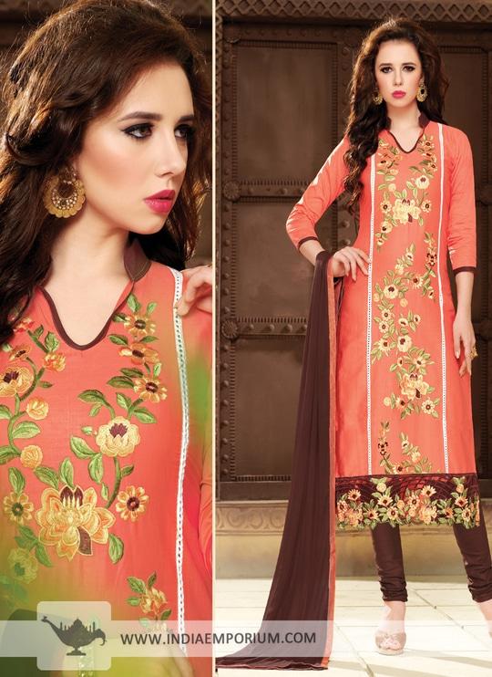 Stunning Salmon & Brown #Chanderi Cotton Churidar Suit||| Shop http://bit.ly/2t5TI8s #indiaemporium