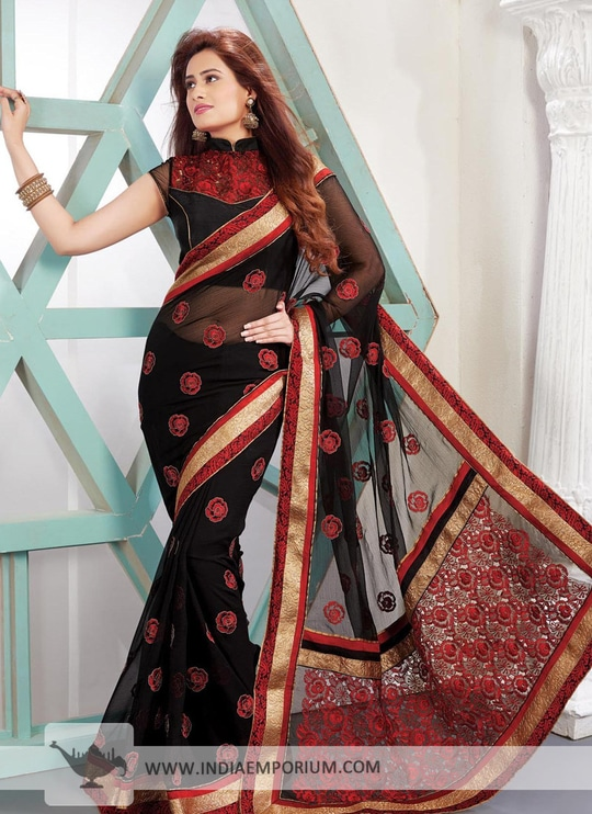Black Embroidered Poly Viscose & Georgette #Saree  Shop Now>> http://bit.ly/2t5Wr1Z