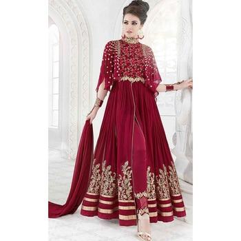 Maroon Party Wear Floor Length Anarkali Suit  • Party Wear Floor Length Designer Suit • Fabric : Georgette • Salwar Fabric : Crepe • Dupatta Fabric : Chiffon • Inner Fabric : Crepe • Size : Semi-Stitched (customizable Upto size-44)  SKU: SUENMGL7211  Rs. 5,499.00
