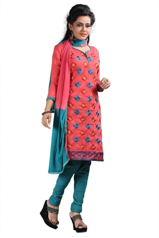 The bueautiful tomatto red semistiched cotton and soft rawsilk made embroidered salwar suit with Chiffon dupatta. #cotton