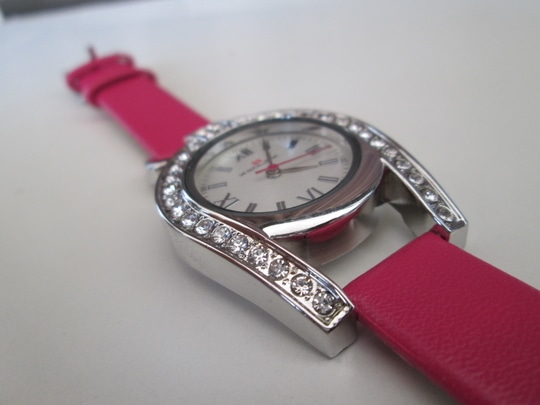 The beautiful unique dialed watch with pink leather strap(for her). The watch is made up of unique shaped diamonds embedded stainless steel dial, with Pink leather strap, which makes it more beautiful. so it makes perfect choice for every outfit. Type: Analog; Dial shape: Round. Starp material: Leather; #watches