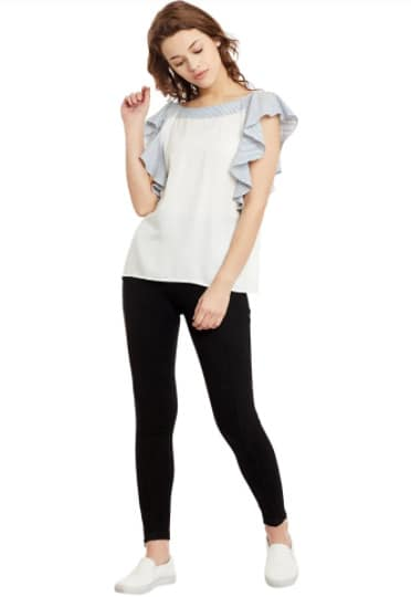 Brand- Primo Knot Get this Ruffled Sleeve White top at just Rs 525/- Use CODE- SALE PICK. #staytunedformore #dailysale To order- https://goo.gl/Cxvsrb #primoknot #ruffledsleeves #women-branded-shopping #salealert #sale #highstreetfashion #ropo-love #roposoblogger #ropo-style
