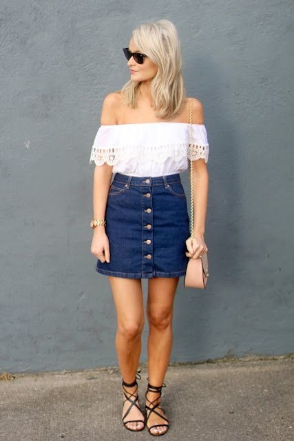 #7 off shoulder top with button down skirt