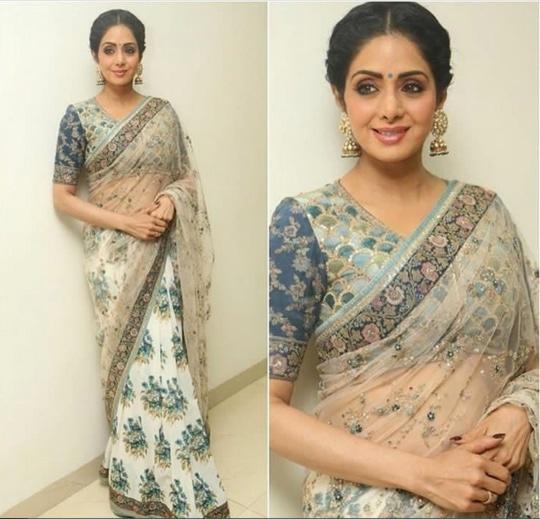 Sri Devi Kapoor In A Beautiful Sari Design By Sabyasachi
