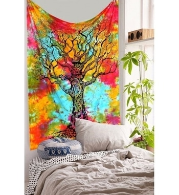 Colorful #Treeoflifetapestry #wallhangings are cool and #hippie essential decorations for your dorm room or #bedroom. Shop Now and best deal with Confidence @ HandiCrunch. Visit here to buy >>> https://goo.gl/wLnzDC #indiantapestry #homedecor #walltapestries