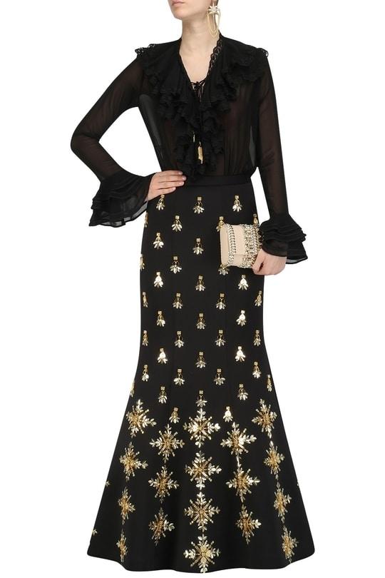 Black Acrylic Embroidered Mermaid Skirt and Shirt Set