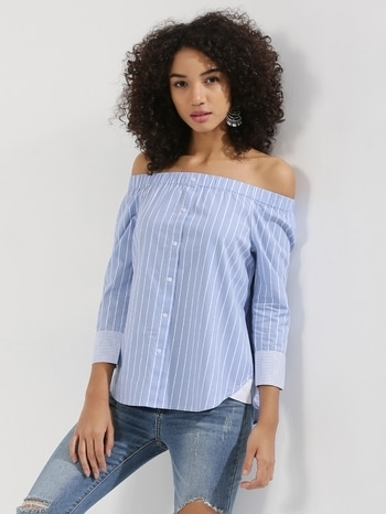 In love with these stripe tops. These strips/ checkered tops are everywhere and for everyone. With the country that has harsh son for almost eight months a year, these cotton tops are  blessing. This pattern and design can be played upon, be it off shoulder, flared sleeves, one shoulder top, dress. These are here to stay for a while. #summer #trends#summertrends #strips #offshoulder #pastelperfect #stripes #stripeslove #flaredsleeves #breezyoutfit #breezyblue #summerready