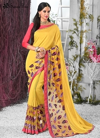Sumptuous Yellow Georgette Classic Saree 3809    For More informaion WhatsApp 7202080091 Or Visit www.SareeBee.com   #lehengas #summer-fashion #summerfashion #bollywood #fun #dress #streetstyle #ethnic #designer #styles #travel #indianblogger #roposo #selfie #trendy #lookoftheday #summer #ropo-love #styling #fashionista #cannesfilmfestival #roposogal #shopping #blogger #cool #Womenonroposo  #summer-fashion #summerfashion #raabtathemovie #rocknshop #food #bollywood #fun #dress #ootd #streetstyle #ethnic #designer #styles #travel #indianblogger #roposo #selfie #trendy #lookoftheday #summer #ropo-love #casualvibes #styling #fashionista #cannesfilmfestival #roposogal #shopping #blogger #cool #menonroposo #ethnicwear  #eid2017 #eidmubarakh #Happynewyear