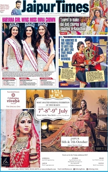 Celebrating Vivaha Featured in #JaipurTimes for its Upcoming Grand #WEDDINGEXHIBITION.  Catch the Latest trends in #CLOTHING and #JEWELLERY from the finest designers of #FASHION industry at The Ashok , New Delhi, India on 7th, 8th & 9th July 2017.  For Queries Visit at : http://www.vivahaexb.com/ or Contact: 09811923456  #News #Clothes #Jewelry #DiamondJewellery #GoldJewellery #Bridal #Exhibition #BridalDresses #WeddingExpo #DesignerJewellery #DesingerDresses #WeddingDresses