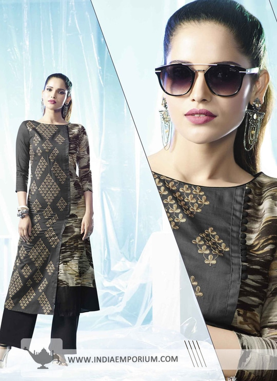 Fantastic Gray & Black Cotton Thread #Embroidery #Kurti Shop From http://bit.ly/2sVQ3aO