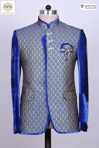 ROYAL RAJASTHANI BLUE VELVET BANARASI SILK DESIGNER JODHPURI SUIT https://www.gravity-fashion.com/royal-rajasthani-blue-velvet-banarasi-silk-designer-jodhpuri-suit-a17229.html