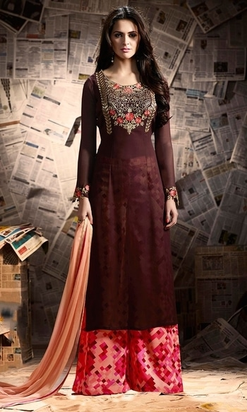 Party Wear Maroon Designer Salwar Suit  • Party wear Frock Suit • Fabric : Georgette • Bottom Fabric : Shantoon • Dupatta Fabric : Chiffon • Inner Fabric : Shantoon • Size : Semi-Stitched (customizable Upto size-44)  SKU: SUEMUG1140 Rs. 2,299.00