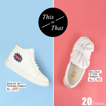 An Edgy Bring Out The Fierceness Sneakers or a Feminine Bow Down To Style Sneakers? What's your style?  #20dresses #20d #online #onlineshopping #ecommerce #postoftheday #picoftheday #pickoftheday #sneakers #shoes #feminine #edgy #thisorthat #yayornay #bows #printed #stylish #trendalert #trending #newin #newstyles #newarrivals