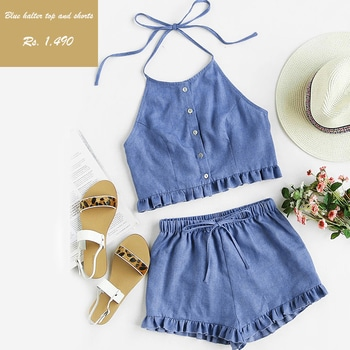 Go co-ordinated! Buy our blue halter top and shorts set. Price- 1,490. Size available: XS, S, M, L. Follow us on Instagram@madrushfashion https://www.instagram.com/madrushfashion/  #madrushfashion#dress#black#fashionblogger#blogger#bloggerinstore#fashionlove#fashion#trends#trendy#offshoulder#bedressy#befashionable#look#lookoftheday#lookofthenight#buynow# #madrushfashion#womenonroposo#fashiononroposo#roposo#fashion#roposolove#roposogal#fun#love#ropolove#blue#black#white#strips#ropostyles#styles#trendy#look#lookoftheday#tees#shopping#onlineshopping#soropso#roposogal#cool#summer#summer-styles#blogger#fashionblogger#mumbai#delhi#india     #musthave