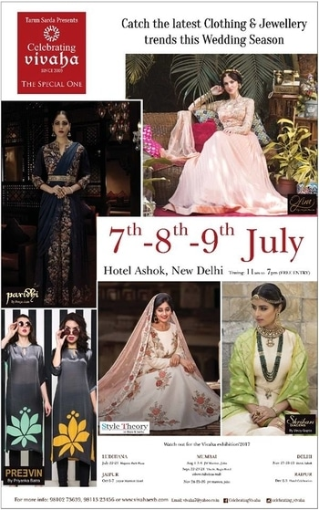 Catch the Latest trends in #CLOTHING and #JEWELLERY from the finest designers of #FASHION industry at The Ashok , New Delhi, India on 7th, 8th & 9th July 2017.  For Queries Visit at: http://www.vivahaexb.com/ or Contact: 09811923456  #News #Clothes #Jewelry #DiamondJewellery #GoldJewellery #Bridal #Exhibition #BridalDresses #WeddingExpo #DesignerJewellery #DesingerDresses #WeddingDresses