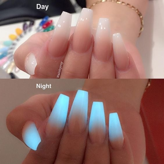 #nailswithrhinestones #nail-designs #nail colour and art #doublecoloured  #coffinnails #glowingatnight