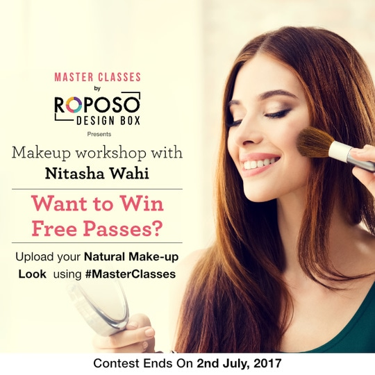 Roposo Design Box brings to you Celebrity Make-up artist, Nitasha Wahi!  With more than 7 years of experience as a make-up artist, Nitasha has worked with lots of celebs including Sunny Leone,Raveena Tandon, Chitrangada Singh, Yami Gautam, Kiara Advani, Radhika Apte, Amyra Dastur, Daisy Shah, PV Sindhu, Sakshi Malik.  To win a free pass to the workshop, upload your natural make-up look using #MasterClasses.   Hurry! Contest ends soon!