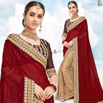 Chic Beige And Wine Georgette Stylish Saree For Party Having Half Sleeves  Click to Order:- http://www.designersandyou.com/saree-blouse/half-saree-blouse/chic-beige-and-wine-georgette-stylish-saree-for-party-having-half-sleeves-6548#  To VIew More Designs:- http://www.designersandyou.com/saree-blouse/half-saree-blouse  http://www.designersandyou.com/saree-blouse/half-saree-blouse/brown  http://www.designersandyou.com/saree-blouse/half-saree-blouse/border-work  http://www.designersandyou.com/saree-blouse/half-saree-blouse/embroidered  http://www.designersandyou.com/saree-blouse/half-saree-blouse/brown/embroidered/boutique-style/function  #HalfSareeBlouse #HalfSareesBlouseDesigns #HalfSareeBlouses #HalfSareesDesigns #HalfSareePatterns #DesignerHalfSarees #HalfSareesOnline #DesignersAndYou #BeautifulHalfSareesDesigns #CheapHalfSareesDesigns #CheapHalfSarees #HalfSareesPatters #EmbroideredHalfSarees #EmbroideredHalfSareesBlouse #Half #Sarees #Blouses #HeavyBlouses #EmbroideredBlouses #HeavyHalfSareesBlouse #HeavyHalfSareesBlouses #HeavyCheapSarees