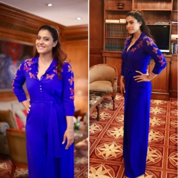 #Kajol looks so beautiful in blue for the promotions of her movie #vip2 in a #shahinmannan butterfly embroidered jumpsuit  Styled by @radhikamehra5   #kajal #beauty #blue #jumpsuit ❤️  #radhikamehra #shahinmannan #butterfly #embroidery #movie #promotion #vip2 #bollywood #fashion #styling #updo #diprloves #fashionpr #webuildyourstory