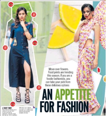 When #food  and #fashion collaborate, we get a #shahinmannan creation such as this denim shirt dress featured in #hindustantimes June issue   #dipublicrelations #webuildyourstory #htcafe #hindustantimes #feature #spotted #denim #shirtdress #diprloves #fashionpr #june #favourite