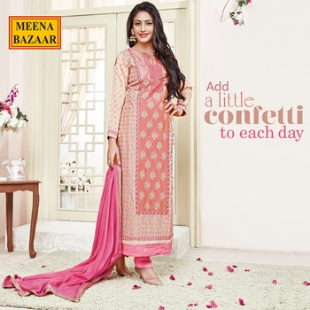 'Her winsome grin put the world at an ease.' Crafted in buttery chanderi and finished with delicate thread work, this  exquisite Peach Suit Set is paired with matching crepe bottom and chiffon dupatta.    #MeenaBazaar #casualwear #indianwear#ethnicwear #ethnicday #occasionwear#designerwear#2017fashiontrends#fashionblogger#fashionista #style#inspiration #fashioninspiration #delhi#indiandesigner#summerweddings#fashion#indiancouture#instafasion#instalike#celebritystyles