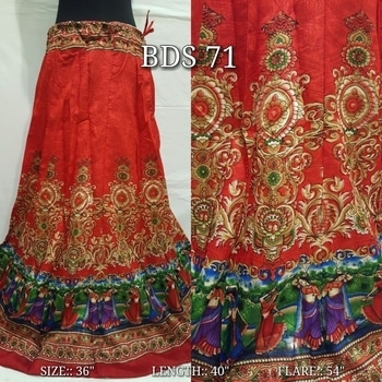 """*BDS 71 @ 1499+$*  FABRIC:: Digital Print Raw Silk Skirt Along with Side Dori and Zip for Fitting  SIZE:: 36"""" ONLY  LENGTH:: 40"""" FLARE LENGTH:: 54"""" Book now Limited stock  9559147657"""