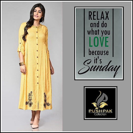 #Sunday, the perfect time to gift yourself Relaxation Therapy! #SundayMood #GoodDay . New Designer Cotton Straight Kurti Collection.... Beautiful Look  www.pushpakcollection.com . . Any Inquiries Please DM Or Whatsapp Me By This Link 👇👇 https://goo.gl/vF9xF5 . . Shop Our New Arrivals.  50, Janki Nagar Main,  Near Jain Sthanak, Navlakha,  Indore (452001) +919425052565 . . #ChoiceOfTheDay #LookOfTheDay #OfferOfTheDay #EthnicLook #Fashion #ElegantKurtis #EthnicWear #NewCollection #Attire #TraditionalWear #CasualWear #NewArrival #LatestCollection #CottonKurti #WomensClothingStore #ladiesKurti #Kurti #Kurta #DesignerKurti #Indore #UniqueStyle #Kurtis #DesignerKurti #OfficeWear #PushpakCollection #WeekEnd
