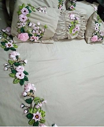 satin ribbon stitch.. #ribbonembroidery #ribbon #bedsheets #-lovely