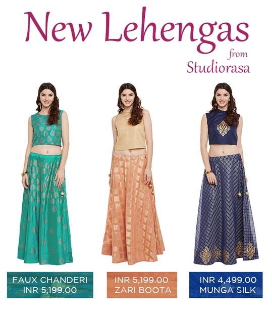 New collection of lehengas from Studiorasa @ 20% off. Shop now!  http://bit.ly/2ullAWr  #9rasa #studiorasa #ethnicwear #ethniclook #fusionfashion #online #lehenga #offer