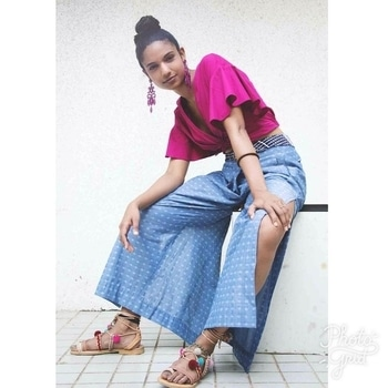 """JODI STYLE FILE x @ashitamisquitta  Meet Ashita Misquitta, PR professional and fashion maven. Sassy, witty and with a (fun)point of view, we got her to wear JODI her own way. She wears our Heather Wide-Leg Trousers """"WITH THE HIGH WAIST AND SIDE SLIT A CROP TOP WAS THE BEST WAY TO GO, AGAIN FLIRTY BUT FUN, THAT'S WHAT YOU LOVE JODI FOR!"""" Read full post in #jodimagazine on THEJODILIFE.COM #ootd #indianhighstreetwithaheart #jodistylefile Photos @deepbhatia Styling @manishamelwani #ajodimonsoon #handcrafted #madeinindia #ootd #jodistylefiles"""