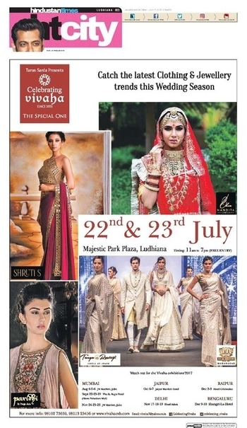 Celebrating Vivaha Featured in Hindustan Times for its Upcoming #WeddingExhibition.  Catch the Latest trends in #Clothing and #Jewellery from the finest designers of #Fashion industry at #MajesticParkPlaza, Ludhiana, #India on 22nd & 23rd July 2017.  For Queries Visit at: www.vivahaexb.com or Contact: 09811923456  #News #HindustanTimes #Clothes #Jewelry #DiamondJewellery #GoldJewellery #Bridal #Exhibition #BridalDresses #WeddingExpo #DesignerJewellery #DesingerDresses #WeddingDresses #CelebratingVivaha