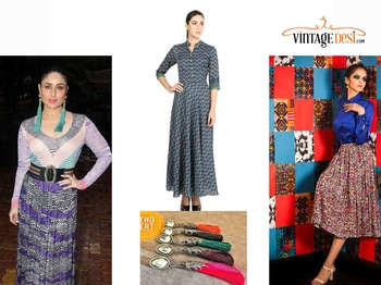 Get the latest trending designer ensembles at affordable prices.The outfits can be paired as inspired from celebrity style . #celebrity #kareenakapoor  #tasselearrings #trendalert2017