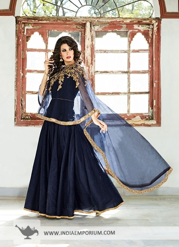 Enviable Navy Blue Cape Style #ZardosiWork #AnarkaliSuit Shop from http://bit.ly/2tlgxpW