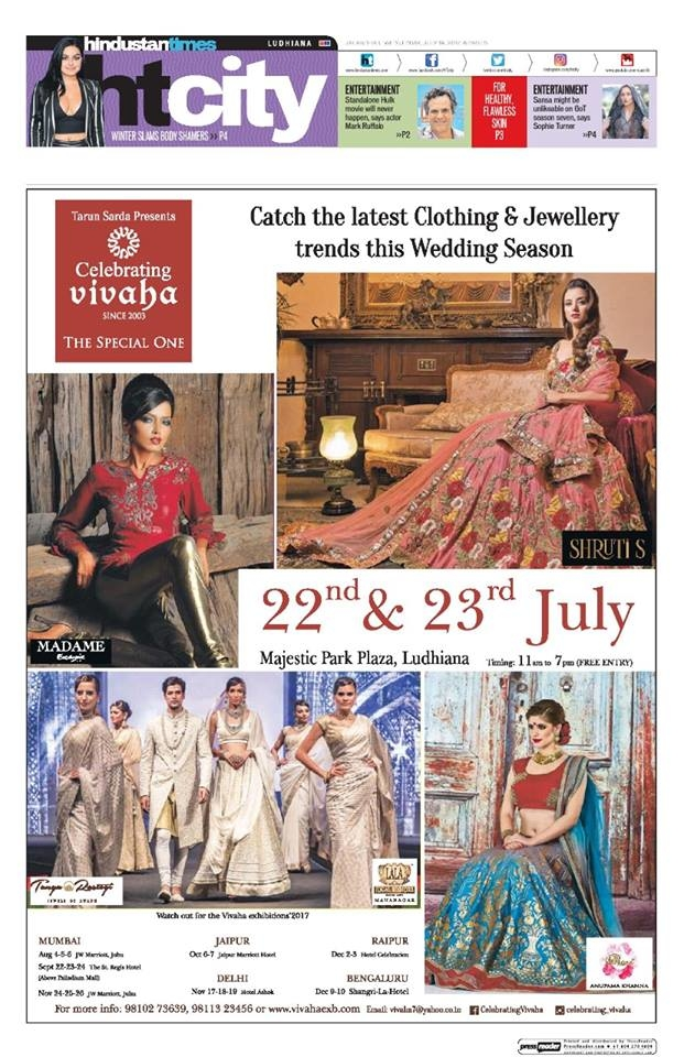 Celebrating Vivaha Featured in #HindustanTimes, for its upcoming Grand #WEDDINGEXHIBITION in Ludhiana.  Catch the Latest trends in #CLOTHING and #JEWELLERY from the finest designers of #FASHION industry at #MajesticPark Plaza, #Ludhiana on 22nd & 23rd July.  For Queries Visit at : http://www.vivahaexb.com/ or Contact: 09811923456  #News #Clothes #Jewelry #DiamondJewellery #GoldJewellery #Bridal #Exhibition #BridalDresses #WeddingExpo #DesignerJewellery #DesingerDresses #WeddingDresses