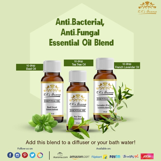 French Lavender, Tulsi and Tea Tree oil fight bacteria, keep fungal infections at bay and combat fever and cold. Try a blend of these Rks Aroma essential oils to stay healthy this season!