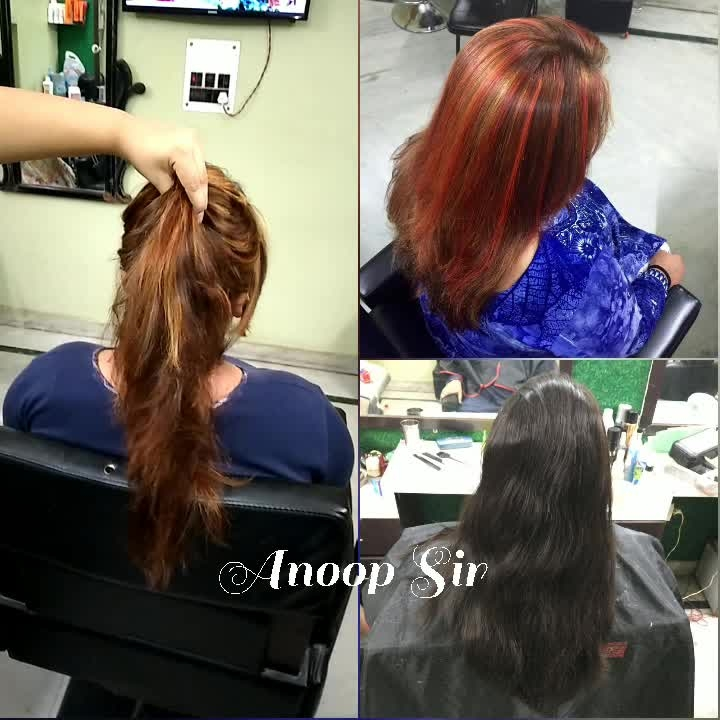 Summer Trend😍  Hairstylist brings colour to the world✨   #RedStreaks #GlobalColor #Highlights  Get red streaks at ANOOP 'Sir' & Sugandha Makeovers at very reasonable price.  Follow me on Snapchat - sugandhaarora13  For bookings - 9999165686,9212086600